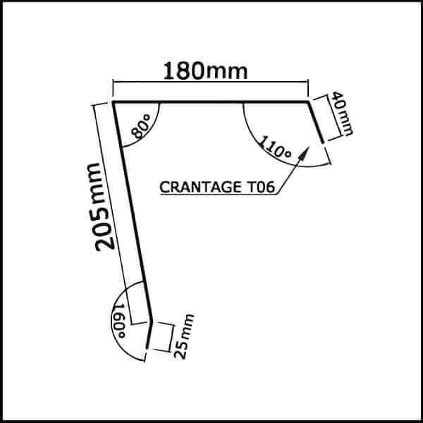 Faitière crantée bac acier 2ml pour monopente